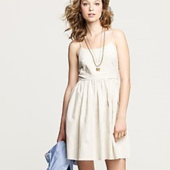 651fff97 J. Crew Dresses & Skirts - J Crew Ticking Stripe Derby Dress Tan Linen  Cotton